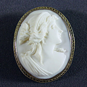 Antique  Hand Carved White Coral Cameo