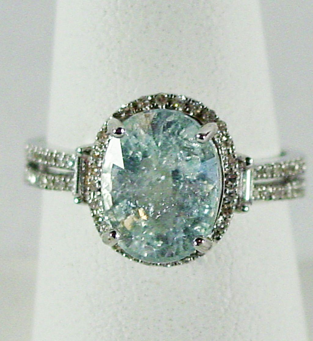 14k Wg Quot Ice Blue Quot Cuprian Tourmaline Amp Diamond Size 7 1 2