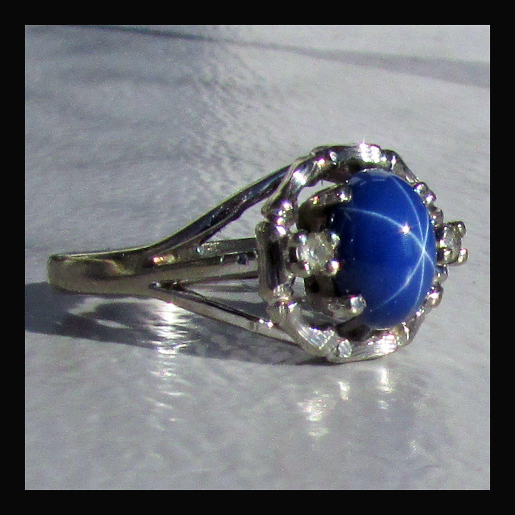 Star Sapphire Engagement Ring 10k wg star sapphire ring,