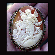 Art Nouveau Cupid and Aphrodite Hand Carved Shell Cameo