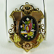 Antique 10K - 12K Gold Pin with Micro Mosaic Bird