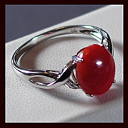 14K White Gold and Sardinian Red Coral Ring Size 6 3/4