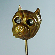 Antique Bull Dog with Jiggly Eyes Stick Pin