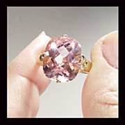 14K Yellow Gold Pink Topaz Ring, Size 7