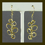 22K Yellow Gold Custom Made Dangle Earrings