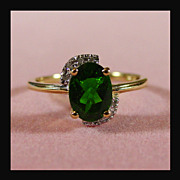14K Yellow Chrome Diopside Ring Size 7 1/4