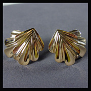 Large 14K Yellow Gold Earrings with Over-Lapping Leaf Design