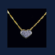 "10K White & Yellow Gold Heart Slide Necklace, Chain 24"" Michael Anthony Design"