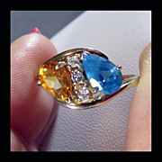 10K Yellow Gold Multi-Gem Ring Size 8 3/4 with Blue and White Topaz and Golden Citrine