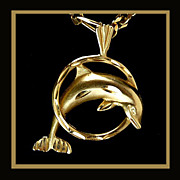 14K Dolphin Pendant / Slide, Design by Michael Anthony