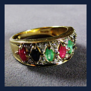 14K Yellow Gold Multi-Gemstone Ring, Size 10