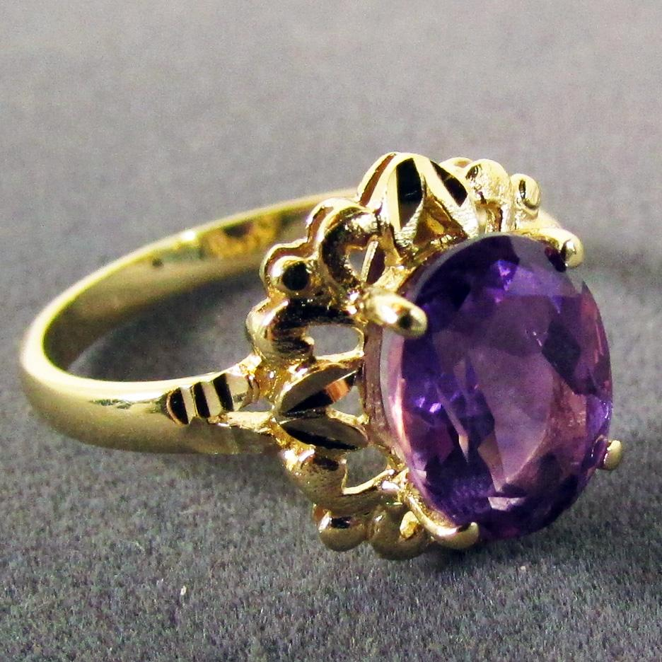 beverly hills gold 14k yellow gold amethyst ring size 7 1