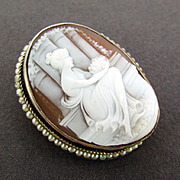 14K Yellow Gold Carved Shell Cameo Pendant & Brooch