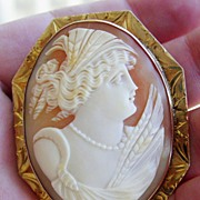 Hand Carved Shell Cameo, Ceres, 14K YG