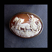 Hand Carved Shell Cameo Roman God in Chariot, 800 Silver