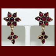 Bohemian Garnet Dangle Earrings with 14K YG Screw Backs
