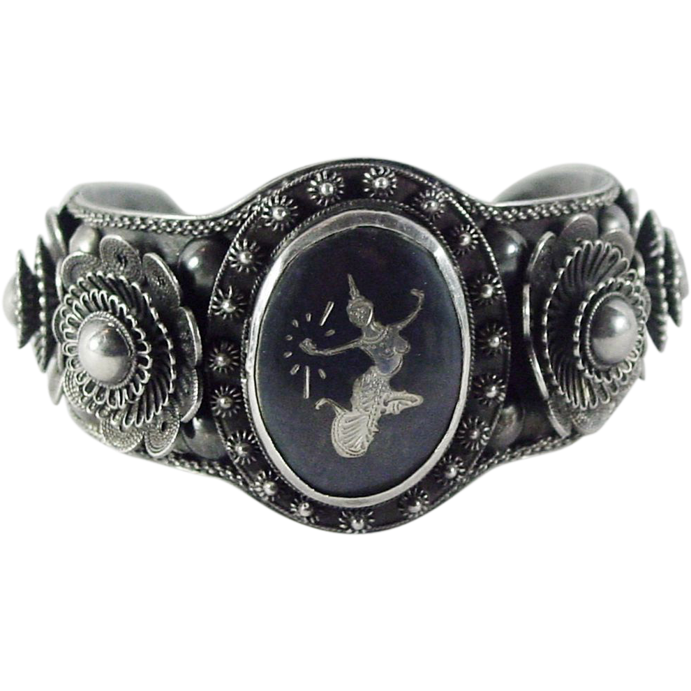ornate siam sterling nielloware cuff bracelet from 4sot on