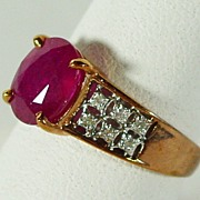 14K Rose Gold Genuine Bright Red Ruby Ring, Size 6.5