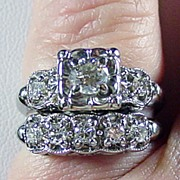 14K WG Diamond (H-I, SI) Wedding Set Size 7 Appraised $3795