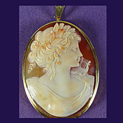 Masterfully Carved Shell Cameo Pendant of  Muse with Lyre in 18K YG