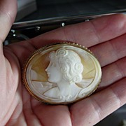 Hand Carved Shell, Left-Facing Cameo with 12K Rose Gold