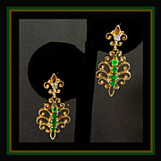 14K Dangle Earrings with Diamonds and Emeralds, Screw Backs Marked &quot;NAOMI&quot;