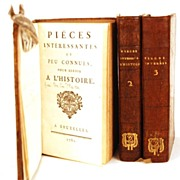"Antique Eighteenth Century French Books ""Pieces Interessantes et Peu Connues"" circa"