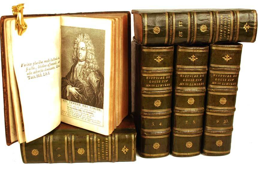 "Rare Antique Eighteenth Century French Books: ""Histoire du Regne de Louis XIV"" circa 1718"