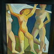 Mortimer Borne , Modernist art , Dancing Nymphs  .Oil Painting