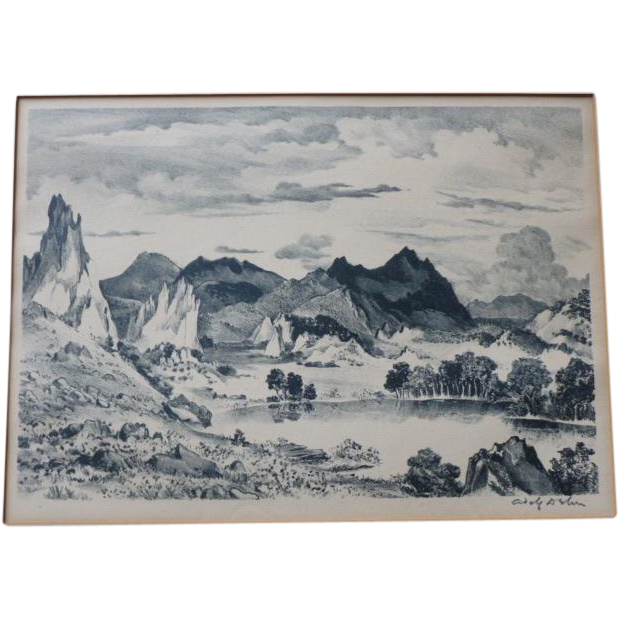 "Adolf  Dehn ""Lake in the Garden of the Gods"" AAA Print"