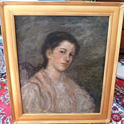 Boston School &quot;Portrait of a Young Lady&quot; Oil Painting