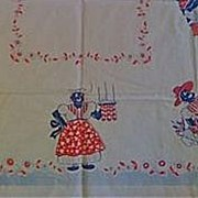 SOLD VINTAGE Black Americana JS&S Mammy Aunt Jemima Tablecloth 1940s