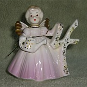 SOLD Vintage Josef Originals 4 Four Year Birthday Angel Figurine Poem Tag Pink Dress