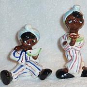 Vintage Black Americana Kids Watermelons Salt and Pepper Shakers RARE