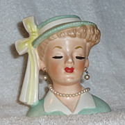 Vintage Napco Lady Headvase Head Vase Green Hat Pearls 1950s Planter