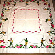 Vintage Black Americana Simtex Tablecloth Watermelon Chains Jockeys
