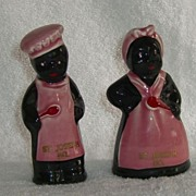Vintage Black Americana Mammy Aunt Jemima PINK Salt and Pepper Shakers