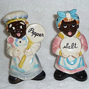 Vintage Black Americana LEFTON Mammy Aunt Jemima Cooks Salt & Pepper Shakers