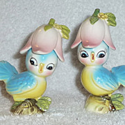 Vintage Bluebird Salt and Pepper Shakers Pink Flowers Blue Bird Anthropomorphic