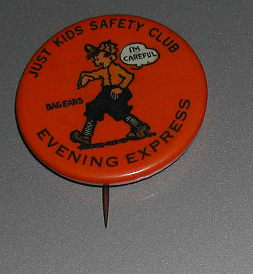 Vintage Celluloid Comic Newspaper Pinback Just Kids
