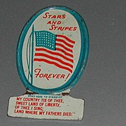 Vintage c40s Cracker Jack Advertising Tin Premium Stars Stripes