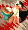 Vtg Royal Copley Indian Boy with Drum Pottery Planter