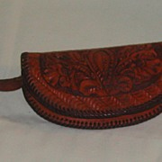 Vintage c. 1950 Hand Tooled Leather Coin Purse
