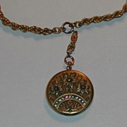 Antique Victorian Raised Flowers Rhinestones Locket & Braided Chain