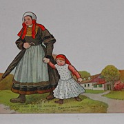 c.1900 Dr. Miles Costumes World Advertising Paper Doll Breton Woman Child