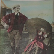 c.1920 Vintage Motorcycle Tinted Photo Dapper Man Jodhpurs Spats Cap