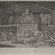 Antique 1822  W Hogarth Engraved Print The Lottery Political Satire