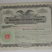1915 Wilson Tire Rubber Co Stock Certificate Signed Eagle Vignette