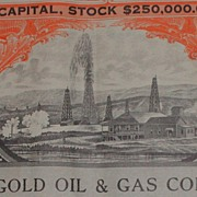 1919 Marigold Oil Gas Co Stock Certificate Oil Well Vignette