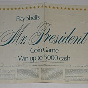 Vintage Shell Gas Advertising Premium President Game Sheet & Tokens